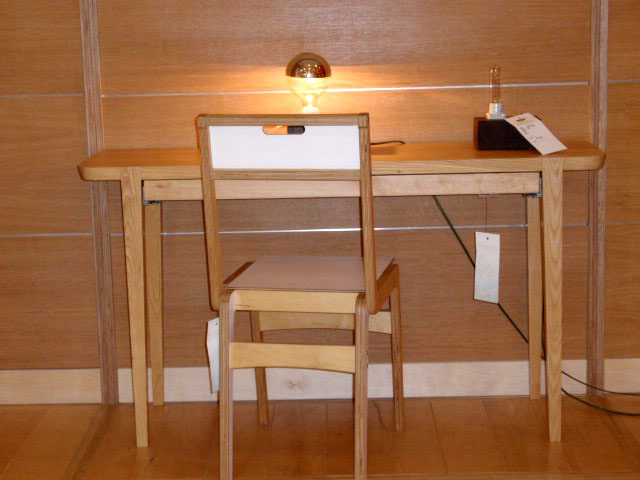 desks and industrial lighting
