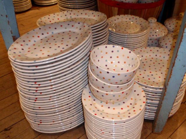 Retro polka dot plates? & Antique Glove Molds and Retro Dinnerware - Hudson Goods Blog