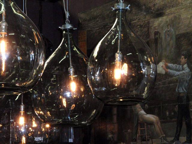 Recycled and repurposed glass bottles hudson goods blog - Glass bottle chandelier ...