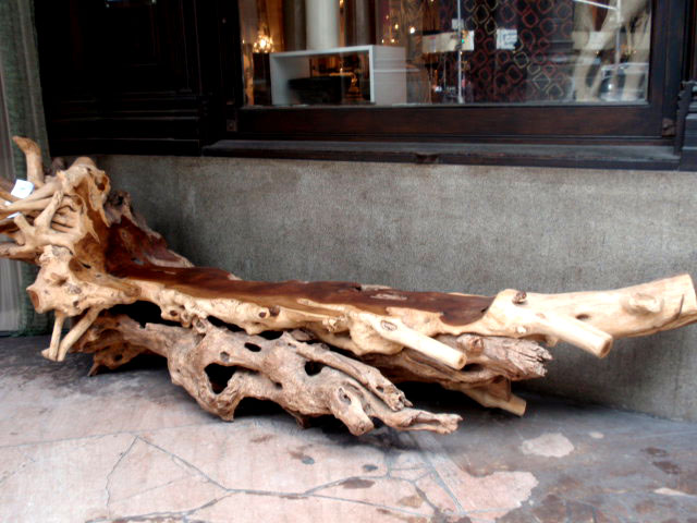 wood tree trunks branch teak furniture chairs media center