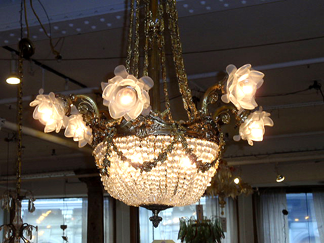 Vintage Chandeliers Lighting Pendant Cage Light Crystal