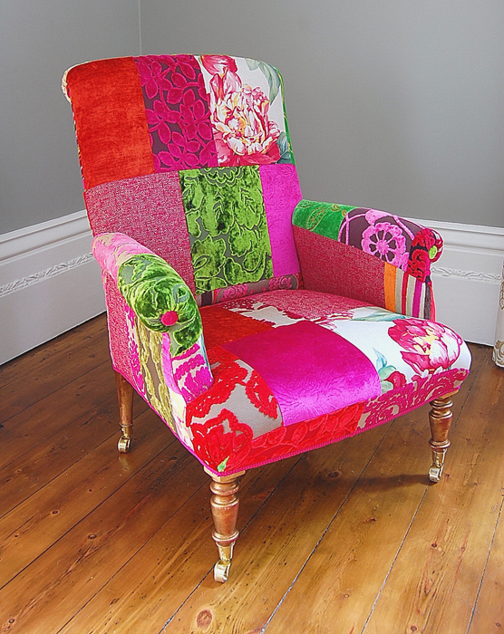 Floral reupholstered antique chair