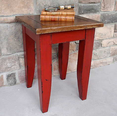 distressed painted wood end tables