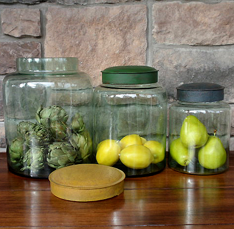 recycled glass jars with metal lids