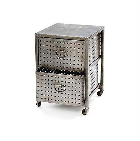 Industrial Metal Perforated Bin End Tables