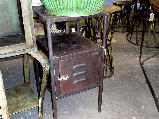 Wonderful Vintage Metal Gym Locker End Table