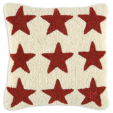 hand hooked wool primitive red-star-pillow