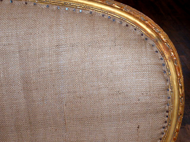 vintage burlap sofa and chair