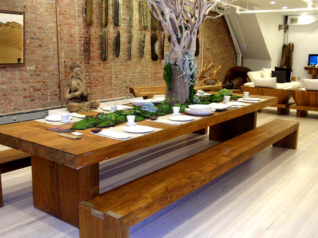 reclaimed green wood dining tables